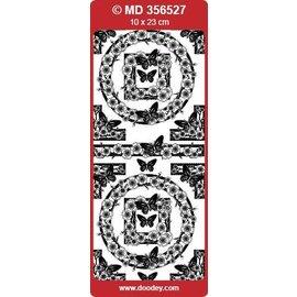 """Sticker Detailliert, geprägte, Ziersticker, """"Schmetterlinge"""", transp./silber"""