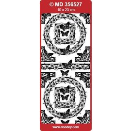 """Sticker Detalhadas, em alto relevo, adesivos decorativos, """"borboletas"""", transp. / Silver"""