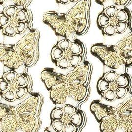 """Sticker Detailliert, geprägte, Ziersticker, """"Schmetterlinge"""", transp./gold,"""
