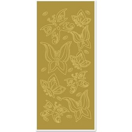 "Sticker Ziersticker, ""Schmetterlinge"", gold/gold"