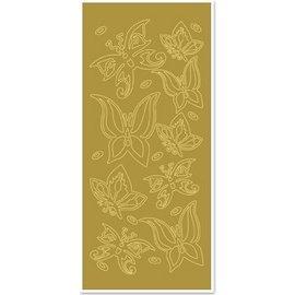 "Sticker Ziersticker, ""sommerfugler"", gull / gull"