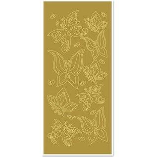 """Sticker Ziersticker """"sommerfugle"""", guld / guld"""