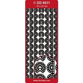 Sticker Ziersticker, Spitze Borde, silber