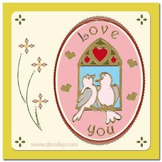 Sticker 1 Ziersticker Lovebirds guld