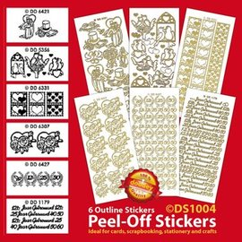 Sticker Set of 6 decorative stickers, gold