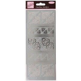 Sticker Contornos etiqueta, cantos celta do coração, prata