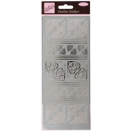 Sticker Contouren Sticker, Celtic Heart hoeken, zilver