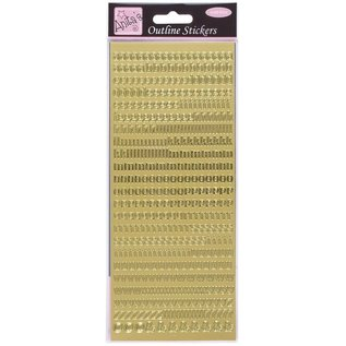 Sticker Konturer klistermærker, små bogstaver, guld