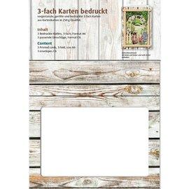 KARTEN und Zubehör / Cards Passepartout cards Vintage, wooden wall