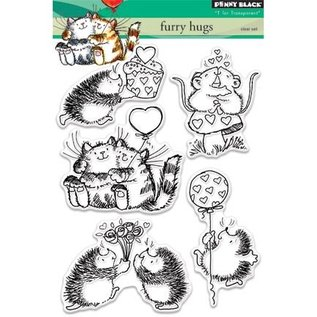 Penny Black Gennemsigtige Frimærker: sød kat, mus og pindsvin