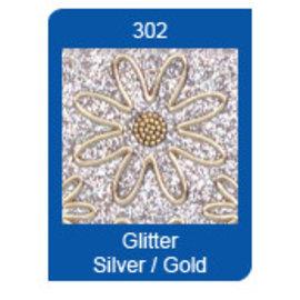 Sticker Micro Glitter adesivos, linhas, prata / ouro