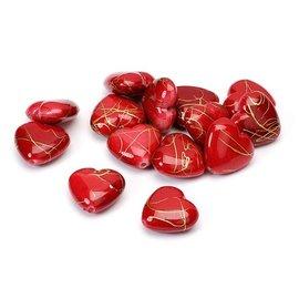 Embellishments / Verzierungen Herzen, rot, 1,5cm, 24Stück in 1 Beutel, aus Kunststoff.