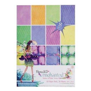 Karten und Scrapbooking Papier, Papier blöcke A5 Glitter Paper Pack (24Pk) - Enchanted Fairies