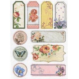 Embellishments / Verzierungen Spaanplaat Stickers, nostalgie bloemen