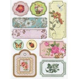 Embellishments / Verzierungen Spaanplaat Stickers, nostalgie bloemen.