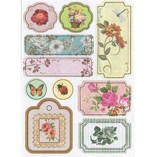 Embellishments / Verzierungen Chipboard Sticker, nostalgie blumen.