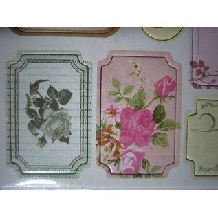 Embellishments / Verzierungen Autocollants en aggloméré, fleurs de nostalgie.