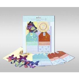 """Set di carte per essere personalizzato, """"farfalle"""", dimensioni 7,8 x 13,5 cm,"""