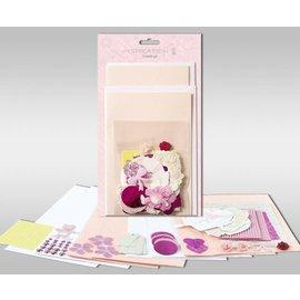 """KARTEN und Zubehör / Cards Conjuntos de cartas para ser personalizado, """"rose"""", para 4 cartões, tamanho 11,5 x 21 cm e 11,5 x 17 cm"""