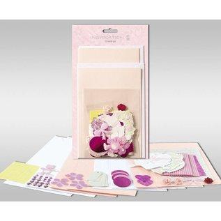 """KARTEN und Zubehör / Cards Sæt af kort, der skal personlig, """"Rose"""", for 4 kort, str. 11,5 x 21 cm og 11,5 x 17 cm"""