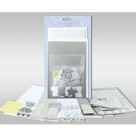 """KARTEN und Zubehör / Cards Set di carte da personalizzare, """"Argento"""", per 4 carte, dimensioni 11,5 x 21 cm e 11,5 x 17 cm"""