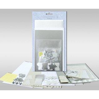 """KARTEN und Zubehör / Cards Kartensets zum Selbstgestalten, """"Silver"""", für 4 Karten, Grösse 11,5 x 21 cm und 11,5 x 17 cm"""