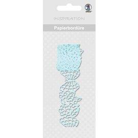 """Embellishments / Verzierungen Papierbordüre, """"hellblau"""", 16 mm breit, selbstklebend, 200 cm"""