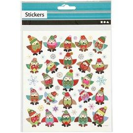 Sticker Adesivos, 1 folha: 15x16, 5 cm, corujas.