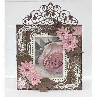 Ponsen en embossing sjablonen: decoratieve frame met afgeronde uiteinden hoek