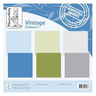 Designer Papier Scrapbooking: 30,5 x 30,5 cm Papier couleurs Vintage A, 6 feuilles, recto-verso, un collège, 240 grs