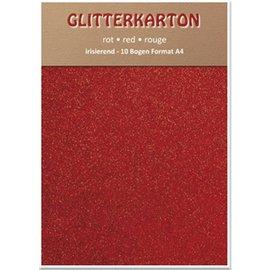 DESIGNER BLÖCKE / DESIGNER PAPER Glitter cartone, 10 fogli, rosso