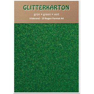 DESIGNER BLÖCKE / DESIGNER PAPER Glitter carton, 10 feuilles, vert