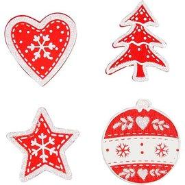 Embellishments / Verzierungen Holz, bemalte Weihnachtsmotive