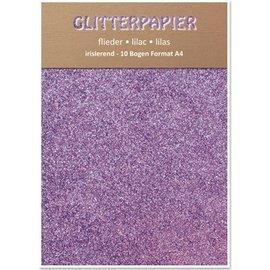 Karten und Scrapbooking Papier, Papier blöcke Glitter pap, iriserende, 10 ark, Lilac