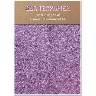 DESIGNER BLÖCKE / DESIGNER PAPER Glitter karton, iriserend, 10 vellen, Lilac
