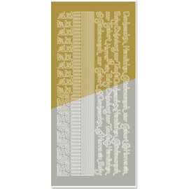 Sticker Combined sticker, edges, corners, texts: Baby, birth, christening, gold-gold
