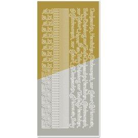 Sticker Combined sticker, edges, corners, texts: Baby, birth, christening, gold-gold