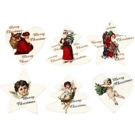 Embellishments / Verzierungen Wood etiquette, 6 verschillende thema's van Kerstmis