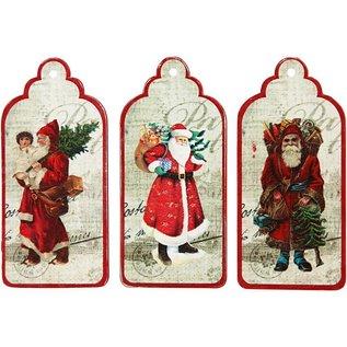 Embellishments / Verzierungen 3 Étiquettes pour cadeaux, Santas nostalgiques