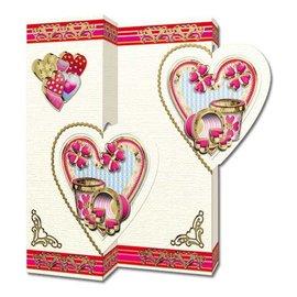 KARTEN und Zubehör / Cards Set di 5 carte, motivi di cuore
