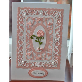 Spellbinders und Rayher Stansning skabelon: dekorativ ramme + Rose