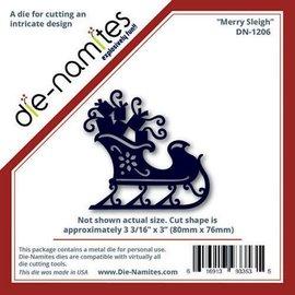 Die-namics Corte e de estampagem estênceis do trenó do Natal com presentes