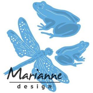 Marianne Design Ponsen sjabloon: kikkers en libel
