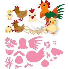 Marianne Design template perfuração: família da galinha de Eline
