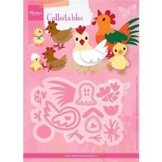 Marianne Design Ponsen sjabloon: Eline's chicken gezin
