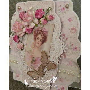 Precious Marieke Punching template: Flower decorative frame