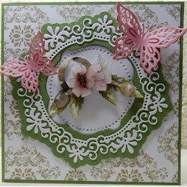 Precious Marieke template perfuração: Flor moldura decorativa