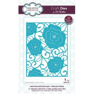 CREATIVE EXPRESSIONS und COUTURE CREATIONS Stanzschablone: Mini Background - Pierced Roses