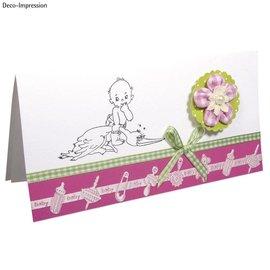 Embellishments / Verzierungen Satin Motif ponsband babyroze