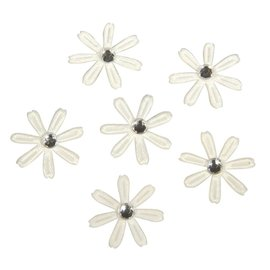 Embellishments / Verzierungen 60 flores de raso con pedrería, 1,8 cm ø marfil